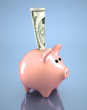Pink piggy bank. 3d render pink piggy bank and dollar in it Stock Photo