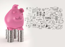 Pink piggy bank 3d standing over coin Stock Photo