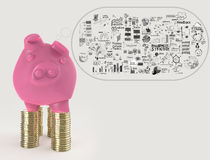 Pink piggy bank 3d standing over coin Royalty Free Stock Photography