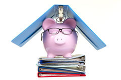 Pink piggy bank and documents Stock Image
