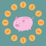 Pink piggy bank and dollar coins. Card. Vector illustration Royalty Free Stock Photo