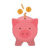 Pink piggy bank with dollar coins. Vector illustration Stock Photos