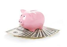 Pink piggy bank on dollars bills on white Stock Photo