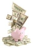 Pink piggy bank on dollars royalty free stock photos