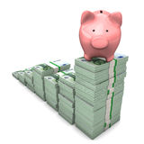 Euro Chart Piggy Bank. Pink piggy bank with euro chart on the white background Stock Photos