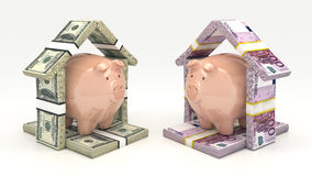 Pink piggy bank and euro-dollar in the shape of a house. Investment concept. Render 3D Stock Photos