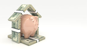 Pink piggy bank and euro-dollar in the shape of a house. Investment concept. Render 3D Royalty Free Stock Photo