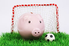 Pink piggy bank with football ball on green field with gate on white background. Horizontal Stock Image