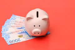 Pink piggy Bank in the form of a pig stands on a red background royalty free stock image
