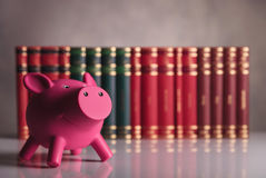Pink piggy bank in front of a row of books Royalty Free Stock Photography