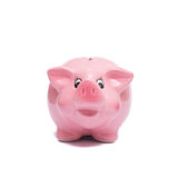 Pink piggy bank from the front. White isolated Stock Photography