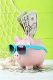 Pink piggy bank Stock Photos