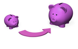 Pink Piggy Bank Growth. Representation of savings growth by two piggy-bank in different size Stock Images
