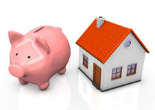 House Piggy Bank. Pink piggy bank with a house on teh white background Stock Images