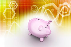 Pink piggy bank, investment concept. In attractive color background Royalty Free Stock Photos