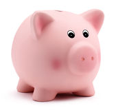 Pink piggy bank isolated on white background Stock Images