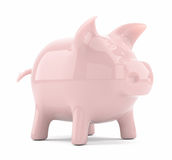 Pink piggy bank isolated on white background Stock Image