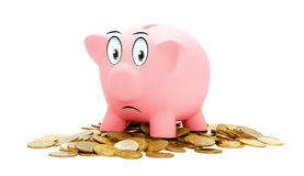Pink piggy Bank isolated on a white background. Royalty Free Stock Photo