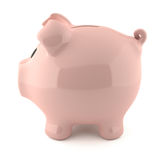 Pink piggy bank - lateral view. Pink piggy bank isolated on white background Stock Photos