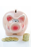 Pink Piggy Bank with Money Stock Images