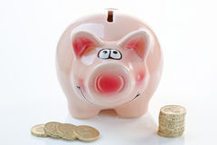 Pink Piggy Bank with Money Royalty Free Stock Photo