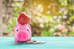 pink piggy bank over coins stack, saving money Royalty Free Stock Images