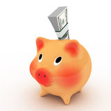 Pink piggy bank with pack of dollars. Stock Photos