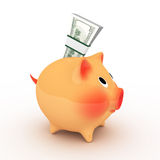 Pink piggy bank with pack of dollars. Royalty Free Stock Images