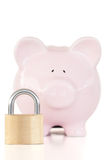 Pink piggy bank and padlock Royalty Free Stock Photography