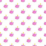 Pink piggy bank pattern, cartoon style Royalty Free Stock Image