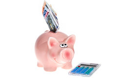 Pink piggy bank and pocket calculator Stock Photo
