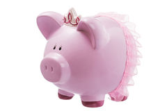 Pink piggy bank princess isolated on white Royalty Free Stock Photography