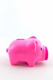 Pink piggy bank saving. Royalty Free Stock Photo