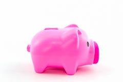 Pink piggy bank saving. Stock Image