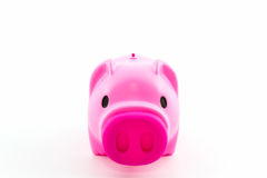 Pink piggy bank saving . Stock Image
