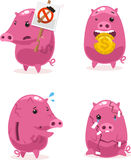 Pink Piggy bank savings golden coins set 2 Royalty Free Stock Photos