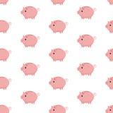 Pink piggy bank seamless pattern. Piggy bank on white background Stock Photo