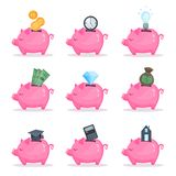 Pink piggy bank set, saving and investing money concept cartoon vector Illustrations. On a white background Royalty Free Stock Photo