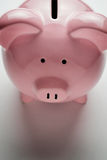 Pink piggy bank showing the coin slot Royalty Free Stock Photos