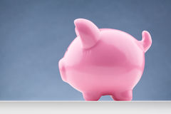 Pink Piggy Bank - Side View. Side view of a pink piggy bank with copy space Stock Photography