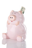 Pink Piggy Bank Sitting Up With Twenty Dollar Bill. Happy looking piggy bank seems ecstatic over gaining a 20 dollar bill. Concept indicating happiness over stock images