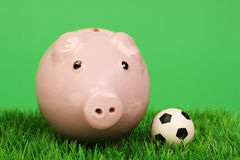 Pink piggy bank with soccer ball on a grass pitch Royalty Free Stock Photography