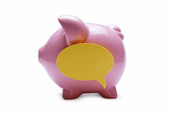 Pink piggy bank with a speech bubble Royalty Free Stock Image