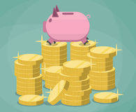 Pink piggy bank and stacks gold coins Stock Images