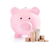 Pink piggy bank and Stacks of money coins Stock Image