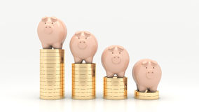 Pink piggy bank and Stacks of money coins isolated over the white background Stock Photos