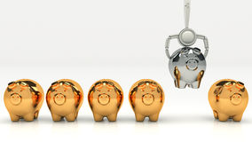 Pink piggy bank and Stacks of money coins isolated over the white background Stock Images