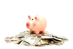Pink piggy bank standing on a pile of coins and bills, suggesting money savings Stock Images