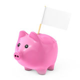 Pink Piggy Bank Style Money Box with Blank Flag for Your Text. 3 Stock Photo
