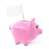 Pink Piggy Bank Style Money Box with Blank Flag for Your Text. 3 Stock Images